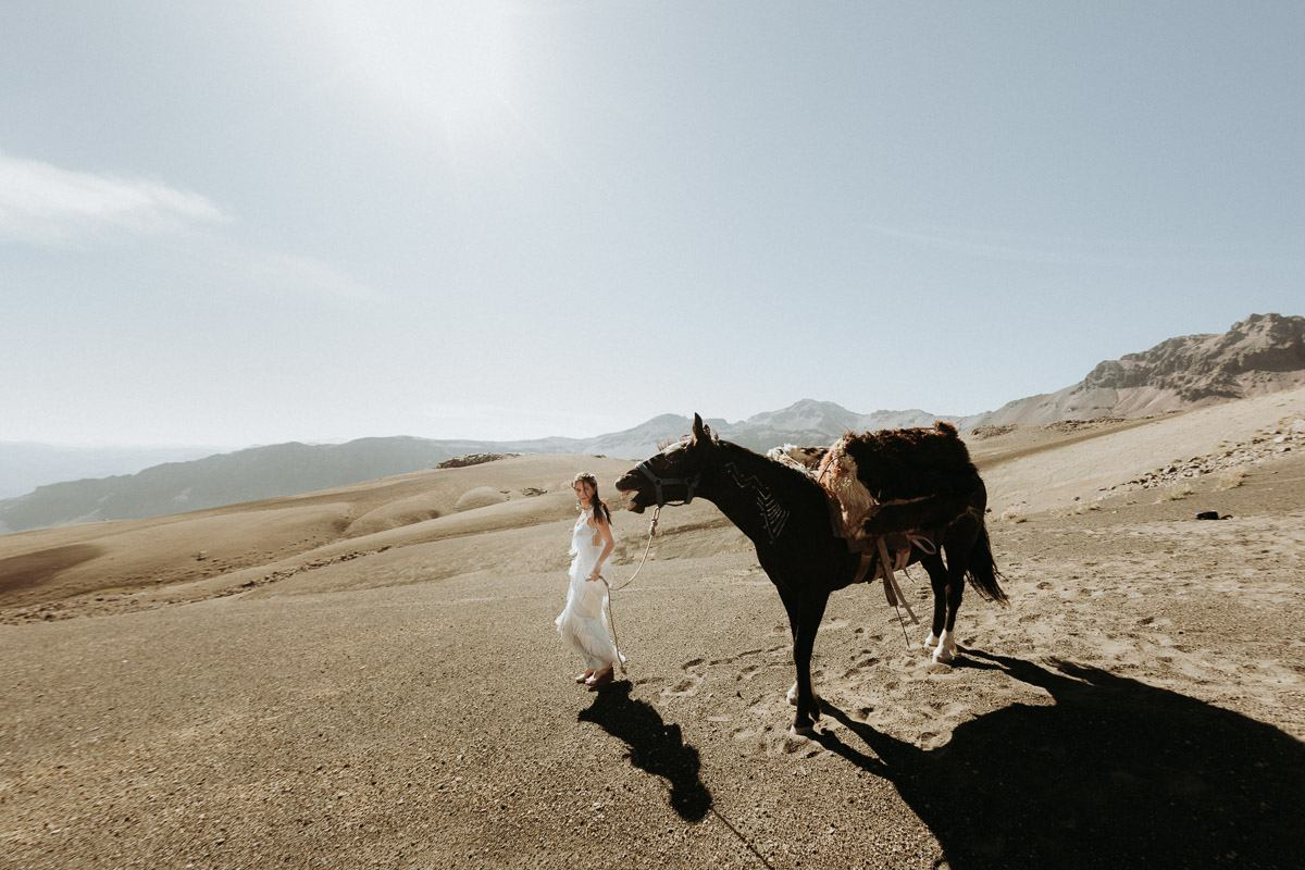 bride with horse in chile