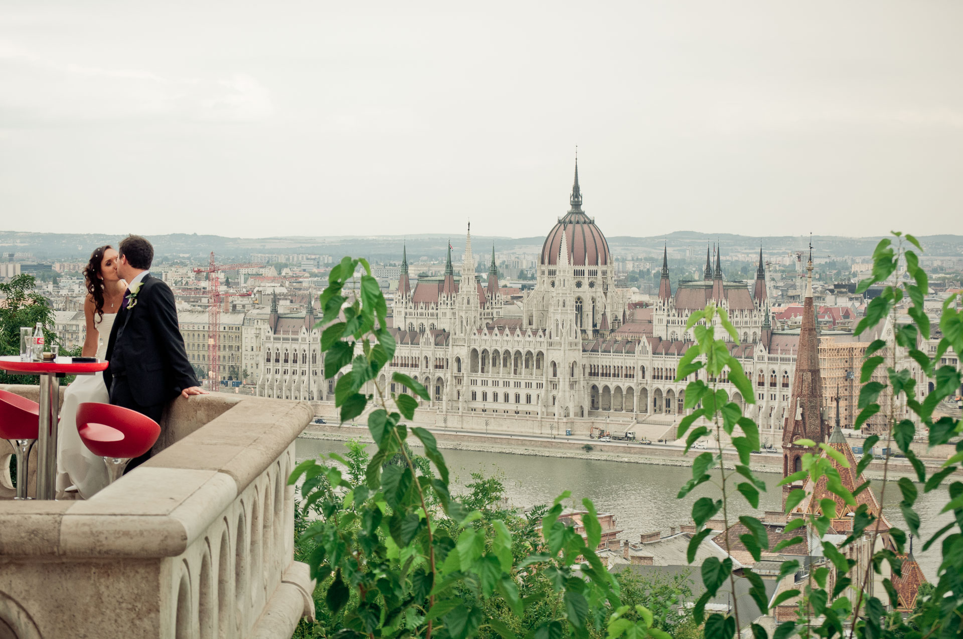 Romantic city elopement and honeymoon in Budapest - elopement photographers love to take shots on the Castle Hill in Budapest