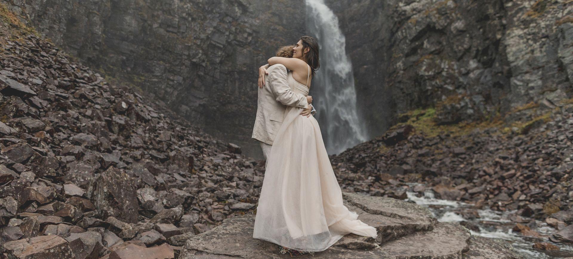 waterfall adventure elopement in sweden