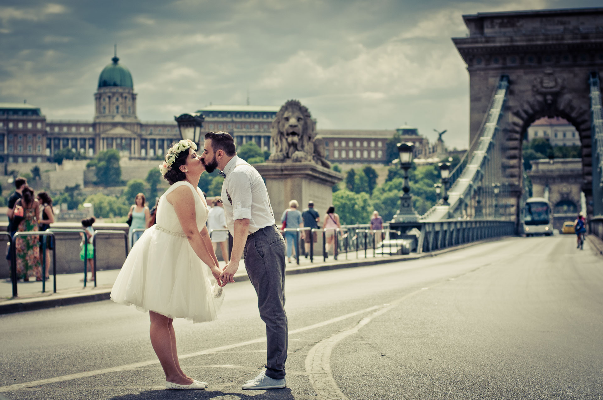 Best elopement and honeymoon place in Europe is Budapest city - super romantic backdrop with Chain bridge