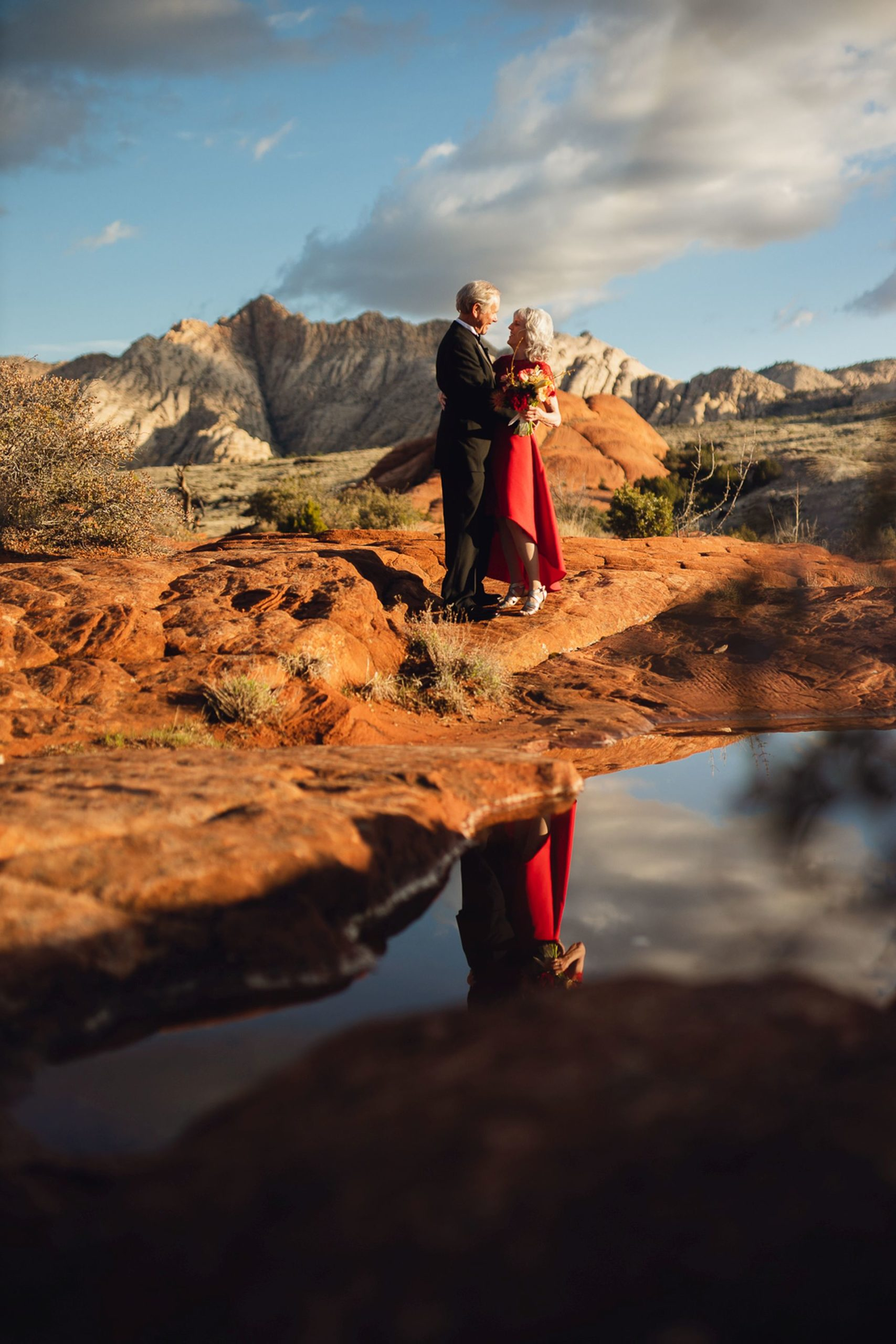 elopement wedding in the desert of utah - couple at wedding photo session at sunset