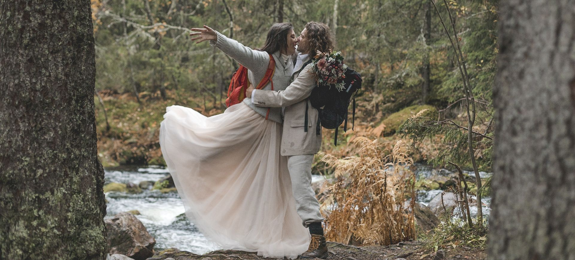 glamping wedding package - get married at a waterfall in sweden