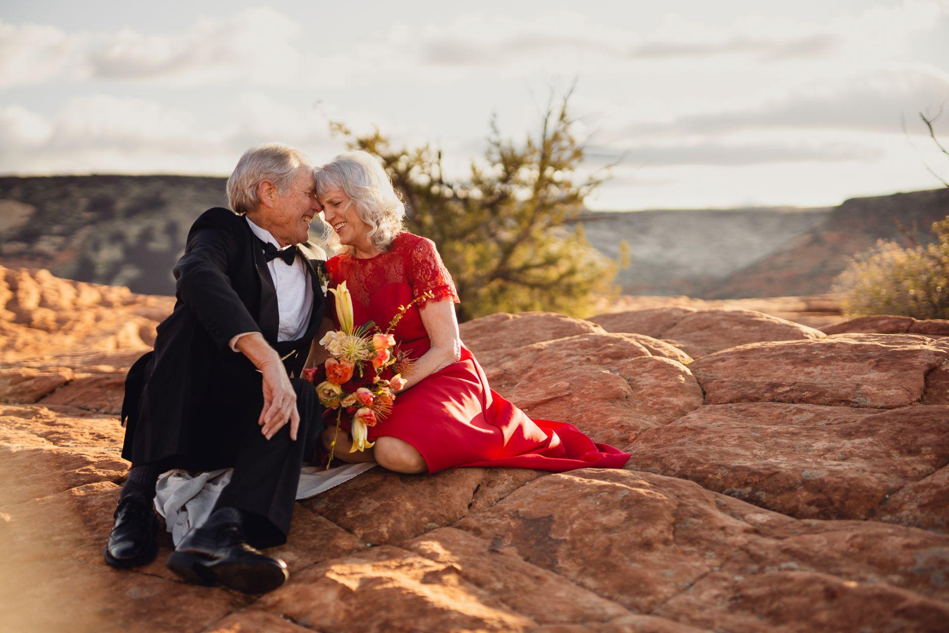 Hiking Wedding Utah Desert - deeply in love couple